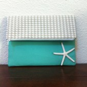 Houndstooth and Turquoise Clutch with Starfish