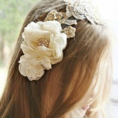 Lace Wedding Headband Gold/Champagne Beaded