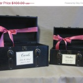 Vintage Style Set of Wedding Card Holder Train Case