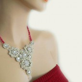 Bridal Silver Bib Necklace Old Hollywood