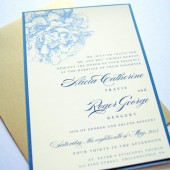 Blue and Gold Peonies Wedding Invitations