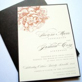 Orange and Brown Peonies Wedding Invitations