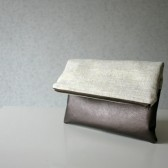 Golden linen clutch