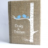 Customized Wedding guest book Blue birds on white birch tree