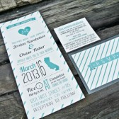 Wedding Invitation. Rustic and Whimsical Heart and Stripes, Teal and Gray