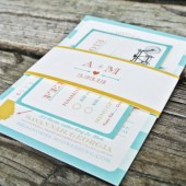 Wedding Invitation: Rustic Modern Stripes and Vintage Bicycle