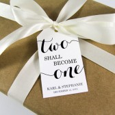 Two shall become One Custom Wedding Favor Tags - Large Size
