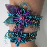 Bridal Wedding Garters, Leopard Garters, Teal Mint Jade Green Garters, Purple Garters, Kanzashi Flower, Purple Peacock Garters, Prom Garters