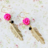Rose and Gold Feather Earrings