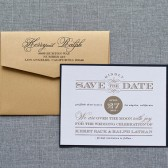 Gatsby Inspired Formal Black and Gold Wedding Save the Date - Kerry and Ralph