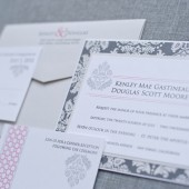 Ampersand Wedding Invitation - Pink and Black - Kenley and Douglas