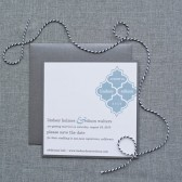 Geometric Tile Wedding Save the Date Card - Grey and Blue - Custom Colors Available - Lindsey and Edison