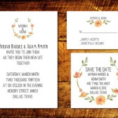 Watercolor Floral Wreath Invitation Suite