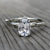 White Sapphire Branch Engagement Ring: White, Rose, or Yellow Gold, Oval, 1ct