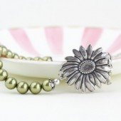 Green Pearl Sunflower Necklace