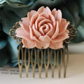 Large Dusty Pink Rose Flower Bridal Wedding Hair Comb