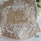 Silk Brocade Custom Embroidered Wedding Dress Label, Downton Abbey Collection
