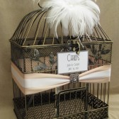 Deluxe Wedding Card Box Holder / White Ostrich Feathers / Art Deco / Birdcage Card Holder