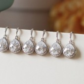 Wedding Bridal Earrings 5 Pairs of LARGE Pave Framed Cubic Zirconia Rhodium Pleated Bridal Earrings. Bridesmaid Earrings