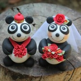 panda cake topper, bear cake topper, asian wedding, chinese wedding, custom cake topper