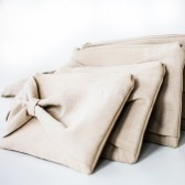Bridesmaids' Clutches - Set of 4 Bow Clutches in Oatmeal