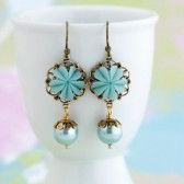 Pale Blue Floral Earrings