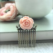 Soft Pink Rose Flower Art Nouveau Antiqued Bronze Filigree Hair Comb
