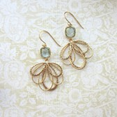 Gold Leaf Feather Dangle, Aqua Blue Glass Framed Jewel Dangle Earrings.