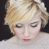 Vintage Floral Lace headband with blush pink pearls.