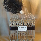 Glam Wedding Card Box With Birdcage Champagne Wedding Card Holder / Vintage Inspired / Birdcage / Pearl Brooch / Art Deco