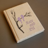 Wedding rustic guest book burlap Linen Wedding guest book Bridal shower engagement anniversary Light purple birds on branch