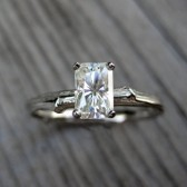 Emerald Cut Moissanite Branch Engagement Ring: White, Yellow, or Rose Gold