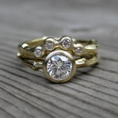 Diamond Twig Engagement and Wedding Ring Set, Yellow, White, or Rose Gold, VS2/H .50ct Diamond