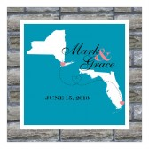 wedding map, couple map, map art, wedding gift, gift for couple, state map art