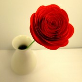 Paper Flower Rose Red with Stems