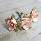 White and Pink Flower Hair Pins