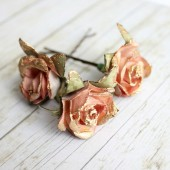 Dusty Rose and Gold Flower Hair Pins.