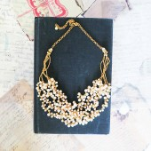 Gold and Pearl Bridal Chunky Necklace