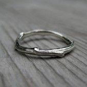 Twig Band: White Gold, 2mm wide