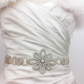 Allur - Vintage Inspired Bridal Crystal Sash, Bridal Beaded Belt, Wedding Sash, Crystal Wedding Belts