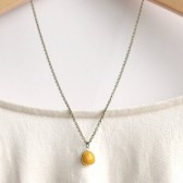 Mustard Yellow Glass Pendant Necklace