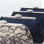 Navy Blue, Champagne and Lavender Bridal Party Clutch Set