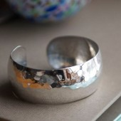 Perfectly Puddled Silver Cuss Bracelet