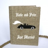 Wedding rustic guest book burlap Linen Wedding guest book Bridal shower engagement anniversary Groom and bride Just married in retro car