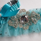 Blue Wedding Garter Set, Tiffany Blue Garter, Mint Blue Garter, Something Blue, Crystal Jeweled Garters, Retro Kitsch Garter, Pop Art Garter
