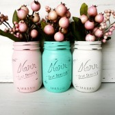 St. Lucia - Painted and Distressed Mason Jars