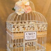 On Sale Vintage Style Wedding Card Box / Pearls / Bird Cage Wedding Card Holder