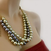 Bridesmaids Chunky Pearl Necklace Grey Mint