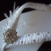 White Bridal flip flops - White ribbon in macrame with Swarovski Crystals-Macrame Collection-White-002
