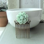 Light Soft Mint Green Chrysanthemum Daisy Flower Hair Comb. Bride Hair Comb